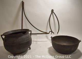 Two (2) Antique Cast Iron Hearth Cook Pots, Fireplace Bracket and Tongs.