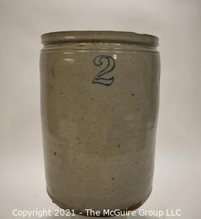 """Antique Large Stone Ware Crock With """"2"""" in Blue Ink."""