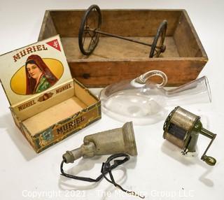 Vintage Mix.  Includes Pencil Sharpener, Wood Box, Spot Light Fixture, Wood Cigar Box, Clear Glass Urinal and Wagon Wheels.