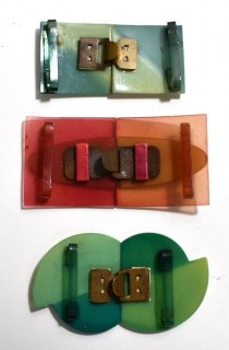 Three (3) Sets of Vintage Mid Century Bakelite and Lucite Belt Buckle Clasps in Bright Colors.