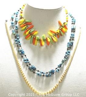Three (3) Vintage Bead Necklaces.
