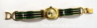 Vintage 1970's Enamel Painted Gold Band Marcel Boucher Bangle Bracelet Watch with Buckle Clasp.