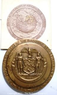 """Vintage Bronze Medal Commemorating the 300th Anniversary of New York City at the 1964 World's Fair; 1 Oz Medal 1.5"""" in diameter"""