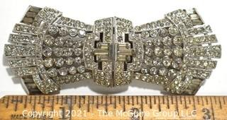 """Victorian Empire Art Deco Duette Claw Set Rhinestone Brooch that can separate and be worn as Dress or Shoe Clips.  Measures 3"""" x 1 1/4""""."""