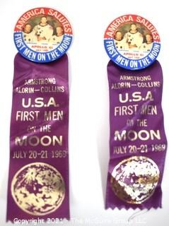 Two (2) 1969 First Men On The Moon Pins & Voyage Ribbons; Apollo 11 with Neil Armstrong, Buzz Aldrin & Michael Collins.  NASA Astronaut Space Program.