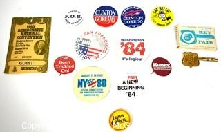 Collection of Vintage Political Pins and Buttons.  Includes 1980 Democratic Convention Badge Pass and Key To Worlds Fair in box.