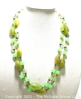"""Opera Length Vintage Green Art Glass Bead Necklace. Measures 44""""L"""