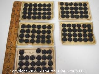 Set of Vintage Cut or Carved Black Glass Buttons on Cards.