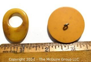 Collection of Carmel Color Bakelite Buttons and Toggles.