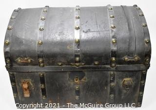 """Antique Harness Trunk Manufactured by Joseph Worley, Baltimore with Drawstring Panel In Top.  Circa 1800's. Measures 28"""" x  20"""" x  18"""""""