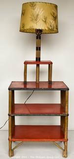 """Mid Century Modern Rattan Table with Lamp.  Measures 53"""" tall including matching mid century light shade."""