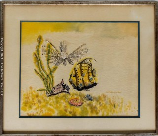 """Framed Under Glass Watercolor of Underwater Sea Scape Signed by Artist David Summerhour.  Measures 26""""L x ___."""