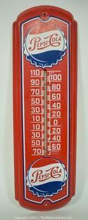 "Vintage Original Red Metal Pepsi Cola Thermometer Advertising Sign, circa 1943. Measures 26""T x 9""W."