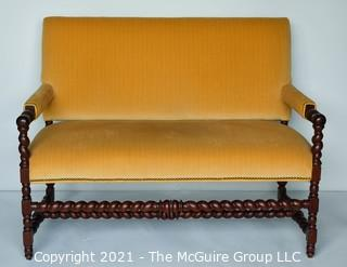 """William & Mary Carved Oak Barley Twist Settee with Gold Velvet Upholstery.  Measures 48""""L x 22W x 38""""T."""