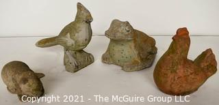 Group of Four (4) Cement Yard Animals