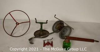 Collection of Vintage Garden and Yard Items.  Includes Tractor Wheel, Three (3) Grass Water Sprinklers and Bug Sprayer with Green Glass Container.