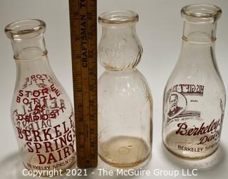 "Three (3) Vintage Milk Bottles from Berkley Springs, West Virginia.  One with ""The Whip""."
