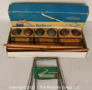 Vintage Woodcrafters Deluxe Four Player Croquet Set in Original Box.