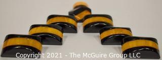 Set of Carmel & Black Bakelite Semi-circle Coat Buttons with Metal Shanks.