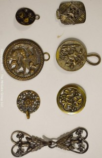 Collection of Vintage Cast Metal Hooks, Buckles and Pendants.  Various Sizes'