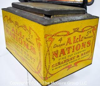 """Antique """"All Nations"""" Chewing Tobacco Store Display Tin, Payn's Sons (25"""" x 7"""" x 8"""") and Vintage Metal Chinese Checkers Board by Pressman."""