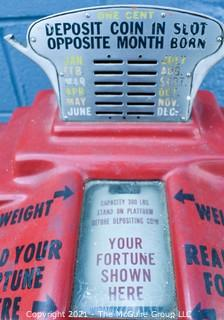 """Vintage American Scale Company Washington DC, 1¢ """"Your Wate and Fate"""" Novelty Standing Scale """"Your Fortune Shown Here"""". Early 20th Century. Measures 50""""T x 12""""W."""