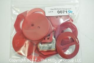 Group of Red Vintage Bakelite Buckles and Buttons.