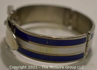 Vintage 1970's Navy & White Stripe Enamel on Silver Hinged Buckle Bangle Bracelet. Damage on one side where enamel is chipped.