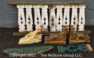 """Antique Wooden Architectural Salvage Items; balustrade measures 25 x 60""""; single corbel 8 x 12""""; pair of corbel's 10 x 12"""""""
