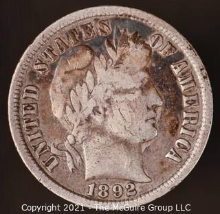 Coins: Silver Barber Dime: 1892-P