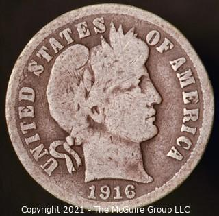 Coins: Silver Barber Dime: 1916-P