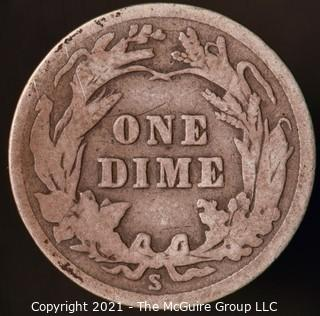Coins: Silver Barber Dime: 1915-S