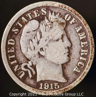 Coins: Silver Barber Dime: 1915-P