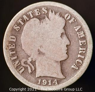 Coins: Silver Barber Dime: 1914-S