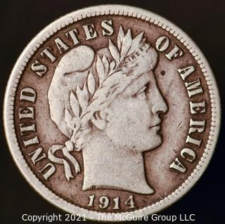 Coins: Silver Barber Dime: 1914=P