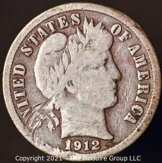 Coins: Silver Barber Dime: 1912-S