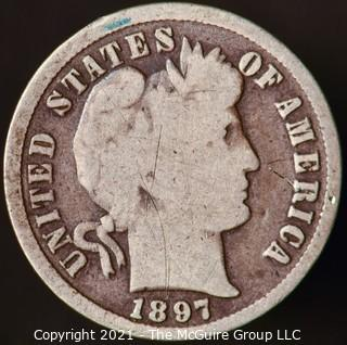 Coins: Silver Barber Dime: 1897-P