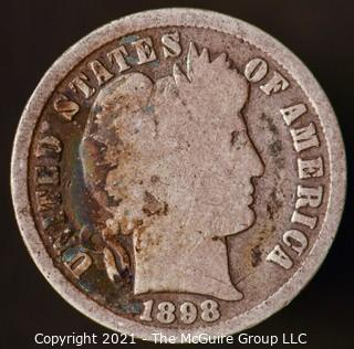 Coins: Silver Barber Dime: 1898-P