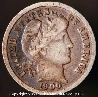 Coins: Silver Barber Dime: 1900-P