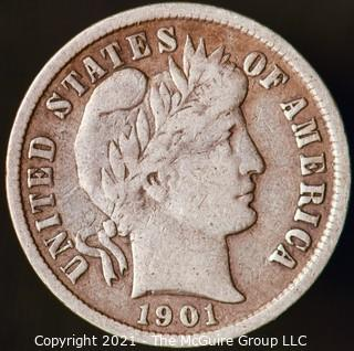 Coins: Silver Barber Dime: 1901-P