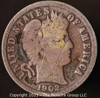 Coins: Silver Barber Dime: 1902-P