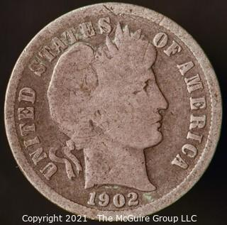 Coins: Silver Barber Dime: 1902-S