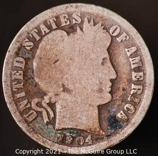 Coins: Silver Barber Dime: 1904-P