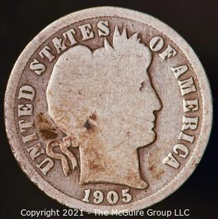 Coins: Silver Barber Dime: 1905-O