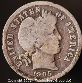 Coins: Silver Barber Dime: 1905-S