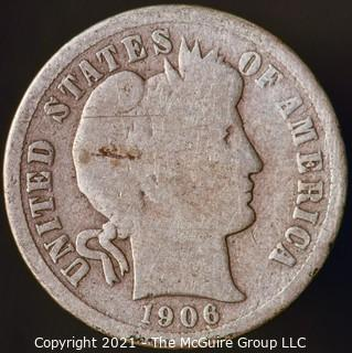Coins: Silver Barber Dime: 1905-P