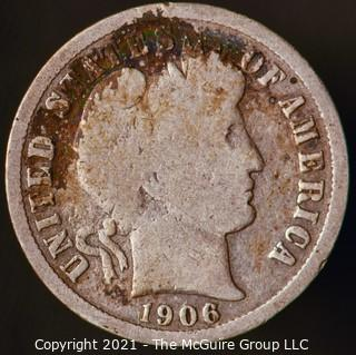 Coins: Silver Barber Dime: 1906-D