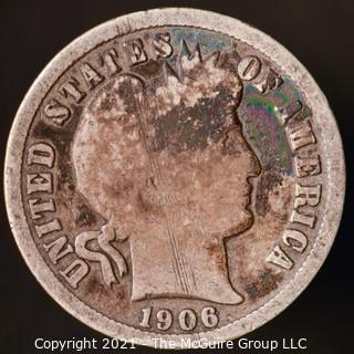 Coins: Silver Barber Dime: 1906-O