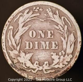 Coins: Silver Barber Dime: 1907-P