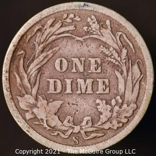 Coins: Silver Barber Dime: 1907-S